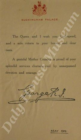 World War I Demobilization Letter