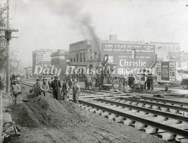 Laying Street Car Tracks on 10th Street