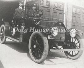 Fire Chief J. Melhuish and A.Thomas in Chief's Automobile