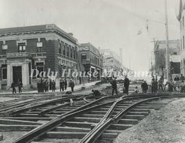 Laying Street Car Tracks on Rosser
