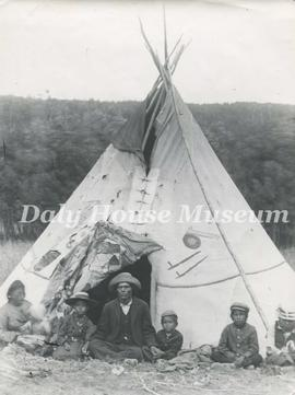 Unidentified Indigenous Family Outside Teepee