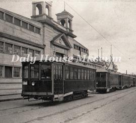 Streetcars in front of Arena on 10th Street