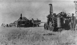 Hirsch, Saskatchewan - Mr. Kleiman on self-propelled combine. 1