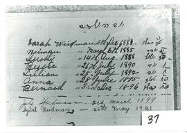 H.L. Weidman birth record of family (photo of document) 1