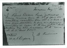 Receipt signed by Beril Weidman 1885, Moosomin 1