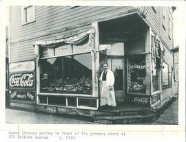 Aaron Grosney in front store, 470 Selkirk Avenue, Winnipeg 1