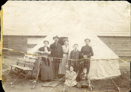 Eva (Weidman) Bess (Levi) Cristall after the earthquake in family tent, San Francisco 2