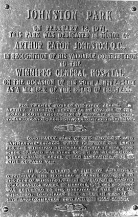 Johnston Park Memorial Plaque